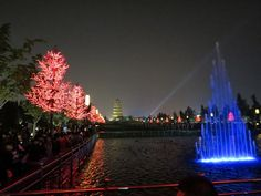Wild Goose Pagoda and largest fountain display in Asia