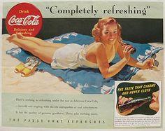 1941 vintage print ad for Coca Cola. A pretty woman on the beach enjoys a Coke. Coke Ad, Coca Cola Ad, Pepsi, Pub Coca, Sun Tan Oil, Vintage Coke, Vintage Signs, Vintage Posters, Magazine Ads