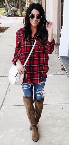 #winter #outfits women's red and black plaid button-up dress shirt. Click To Shop This Look.
