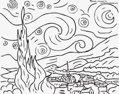 Starry Night By Vincent Van Gogh Coloring page-here is a site with tens of thousands of coloring pages, including famous […] Make your world more colorful with free printable coloring pages from italks. Our free coloring pages for adults and kids. Starry Night, Famous Artists, Van Gogh For Kids, Van Gogh Coloring, Drawings, Colouring Pages, Starry, Art, Famous Art