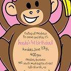20 Printed Pink Mod Monkey Invitations