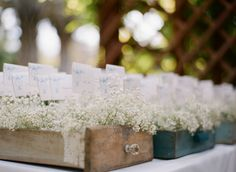 these vintage wood drawers filled with baby's breath are such cute and affordable place card holders