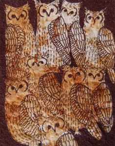 Embroidered art work Parliment of Eagle Owls ON by jennymccabe