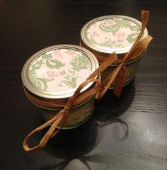 @Brittney Shoe Twenty, 4 ounce pink bridal/baby shower shower soy candle favors. $85.00, via Etsy.