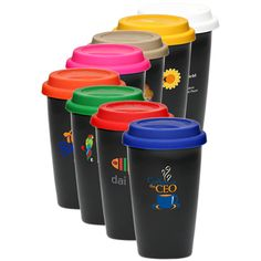 Insulated double wall porcelain tumbler with silicone lid, 11 oz. Great for offices to put your favorite tea or coffee! Perfect promotional item, gift and give away! Actual product dimensions H x W. Porcelain Mugs, Ceramic Mugs, Custom Travel Mugs, Tumblers With Lids, Offices, Promotion, Coffee Mugs, Company Logo, Wine