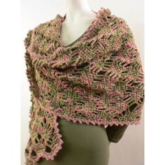 """Use this experienced crochet pattern to create an intricate lace shawl in a lattice design. The unique """"painted"""" yarn adds to the crochet lace design. Crochet Prayer Shawls, Crochet Shawls And Wraps, Crochet Scarves, Crochet Yarn, Crochet Clothes, Crocheted Lace, Crochet Wrap Pattern, Crochet Patterns, Knitting Patterns"""