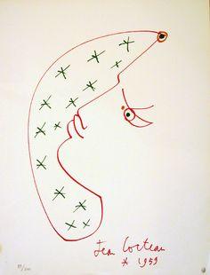 Jean Cocteau - lithographie, 1959.