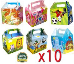 10 x KIDS PARTY FOOD/GIFT BOXES CHILDRENS BAGS FOOTBALL/DINOSAUR/PRINCESS/PIRATE   eBay