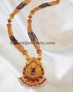 Jewellery Designs: Black Beads Long Haram