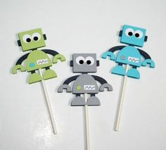 Robot Cupcake Toppers by LindseysPartyPantry on Etsy Robot Cupcakes, Themed Cupcakes, Hand Crafts For Kids, Diy And Crafts, Kindergarten Drawing, Elegant Baby Shower, Baby Shower Cupcakes, Cupcake Toppers, Party Themes