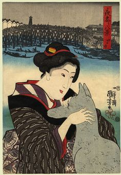 "Kuniyoshi (Bijin)  Date:1845  Size/Format: (9.5 by 14 ins) "" Description:A bijin stroking a statue of Inari, the guardian fox of the Nezu Gongen Shrine in the city of Yokkaichi. Background: the Sumida River, a bridge and storehouses. From the series, 'Eight Views of Night Visiting'.  Series:Yomawari Hakkei  Publisher:Iba-ya Sensabu"""