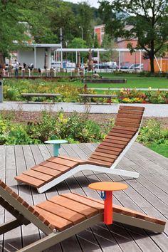 Bain de soleil en acier et bois RIVAGE SMART by mmcité1