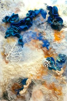 Experimentation in the textures of decay. Felted merino wool, freehand machine embroidery and hand dyed silk. Artist Rae Woolnough