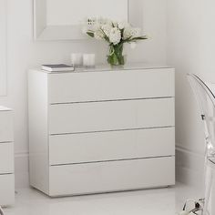 high gloss white glass - Carlton 4 Drawer Chest of Drawers   The White Company