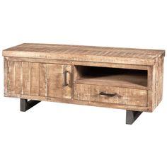De Mex collectie van het merk Eleonora bestaat uit een serie van houten meubelen met een metalen frame. De combinatie van metaal en hout zorgt ervoor dat de Mex collectie helemaal tot zijn recht komt in een landelijk/industrieel interieur. Het hout dat is gebruikt bij het vervaardigen van de Mex meubelen is mangohout. Mangohout heeft een fijne nerf met prachtige warme vlam tekeningen in diverse kleurschakeringen. De tv-meubel Mex beschikt over één deur, één lade en één open vak. De pote...