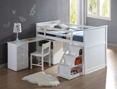 Largest Bunk Beds collection: Finished in a beautiful white, the Wyatt White Loft Bed Unit with Desk and Chair is the perfect space-saving solution for your children's bedroom. This twin loft bed White Loft Bed, Twin Size Loft Bed, White Bunk Beds, Low Loft Beds, Acme Furniture, Kids Furniture, Bedroom Furniture, Empire Furniture, White Furniture