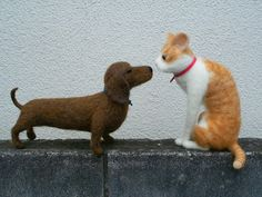 needle felted dachshund and ginger cat