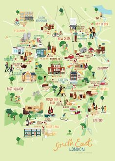 kerry hyndman co uk I've just finished a new illustrated map of some of the best bits in South East London. I live and have a studio space here and wanted to create a map of some of my favourite local spots including, pubs, cafes, parks, bookshops and cinemas.This print is now available to buy on my onlineshop for all you south London fans!