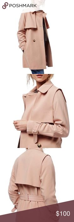 Blush Trench Coat Sharp tailoring defines a lightweight coat to wear anywhere this spring. Putting a fresh spin on classic trench details, a shoulder overlay forms oversized gunflaps in front and a storm flap in back. Topshop PETITE Jackets & Coats Trench Coats