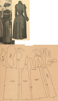 Der Bazar 1889: Directoire genre wintertime paletot from dark blue eskimo-fabric and astrachan; 1. front bodice's overlaping piece, 2. front paletot's skirt part, 3. side gore, 4. neck insertion, 5. and 6. back gores, 7. pocket, 8. collar in half size, 9. and 10. sleeve parts