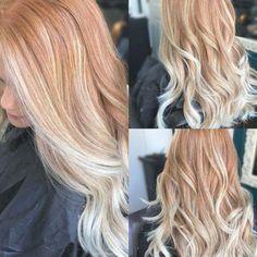 Red Balayage Hair, Red Hair With Blonde Highlights, Red Blonde Hair, Red Ombre Hair, Hair Color Auburn, Copper Blonde Balayage, Auburn Red, Light Red Hair, Dark Hair