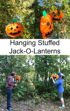 Hanging Stuffed Jack-O-Lanterns