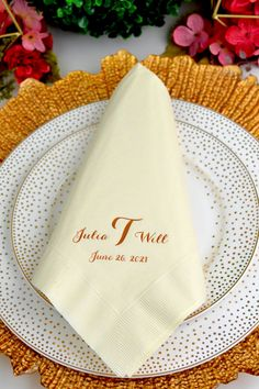 Personalized Dinner Wedding Napkins - Ivory color disposable 3-ply dinner napkins custom printed with a wedding design or monogram and up to 3 lines of text to convey a special message to your wedding reception guests. #weddingnapkins #weddingdinner #wedding