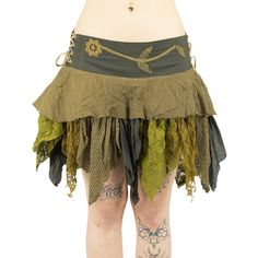 Kakhi Mustard Forest Pixie Skirt With Sharp Ponted Fabrics Such Leaves... ($56) ❤ liked on Polyvore