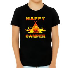Camping Shirt for Boys - Camping Clothes for Boys - Happy Camper Camping Shirts for Kids Funny - Black / M