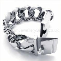Mens Retro Titanium Engrave Flower Vine Bracelet 19716