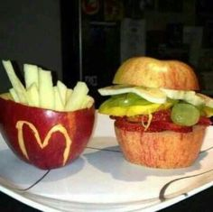 The perfect fruit burger and fries. If only they were that healthy.