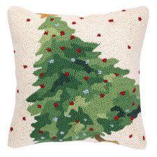 Christmas Tree Hook Wool Throw Pillow