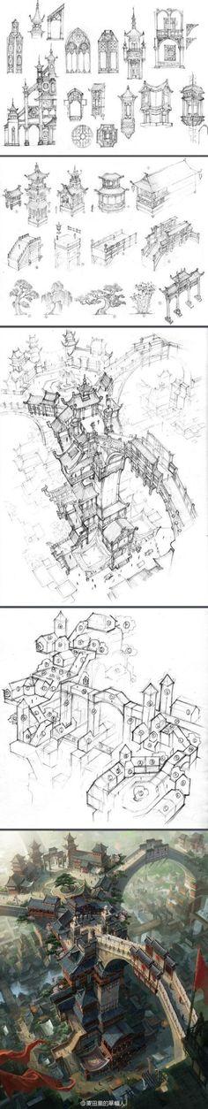 一枚中国场景建筑原画创作解析~转载于麦田...