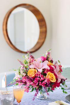 brunch table centerpiece by @teleflora - styled by @jenpinkston