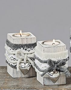 Details about Tealight Holder Shabby Felt Heart Country House Wood Gray White Tealight Set . Decoration Christmas, Rustic Christmas, Winter Christmas, Christmas Ornaments, Wood Block Crafts, Wooden Crafts, Decoration Shabby, Christmas Settings, Diy Candles