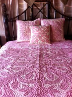 Vintage HAWAIIAN Pink Queen Size Quilt and by AsianPacificCo, $900.00