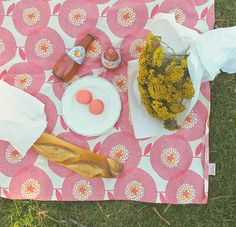 Valentine Special - Flower field, in Rosy - Tablecloth by Skinny LaMinx