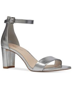 881d8467b9a7 Nine West Pruce Block-Heel Sandals   Reviews - Sandals   Flip Flops - Shoes  - Macy s. Silver Chunky HeelsSilver SandalsAnkle StrapsAnkle ...