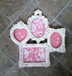 White Ornate Picture Frame Cluster / French Frame Collage / Shabby Chic Decor. $32.00, via Etsy.