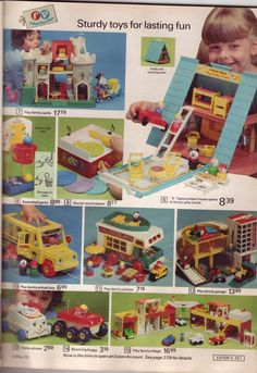 Great Fisher Price play sets. 1974 Eatons catalog. I had most of these and LOVED them.