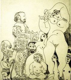 * Pablo Picasso - - - Self Portrait with a Cane with a Comedian in Costume, Cupid, and Women - 1968 - (001-004)
