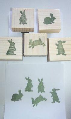 ‡M‡ハンドメイド 消しゴムはんこ ウサギ 5個セット インテリア 雑貨 Handmade stamp ¥600yen 〆05月01日