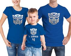 Family transformers inspired matching royal blue birthday T-shirts set. Customization for free.