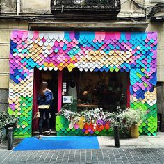 As their final project, Madrid's university design students were given the opportunity to makeover the exteriors of the shops, cafes and bars of the Huertas neighbourhood. Rainbow Color Palette Inspiration from Signage Design, Facade Design, Exterior Signage, Design Palette, Store Fronts, Retail Design, Rainbow Colors, Rainbow Palette, Store Design