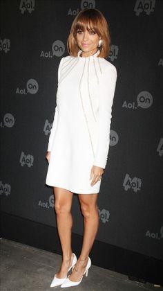 "Nicole Richie in a chic white Saint Laurent ""Cady"" silk dress"