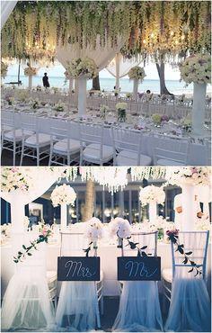 photo: Akaphon Photography; Stunning beach wedding reception idea