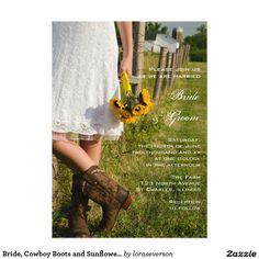 Bride, Cowboy Boots and Sunflowers Ranch Wedding