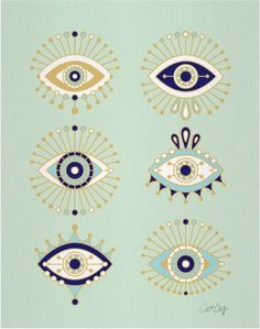 Evil Eye Collection Art Print by Cat Coquillette