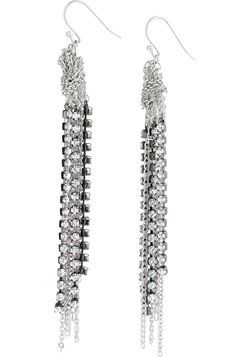 """Adrienne Chain Earrings, A fringe of rhinestones and antiqued silver plated chains dangle from a unique chain knot . 3""""-3 1/2"""" length.  Sterling silver fish hook earwire.  Lead & nickel safe.  $31.20 Sale!"""