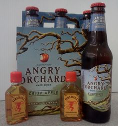 Angry Ball: Angry Orchard Crisp Apple and 1.5 oz of Fireball Cinnamon Whisky.  In a pint glass combine over ice, 1.5oz cinnamon whisky and Angry Orchard Crisp Apple